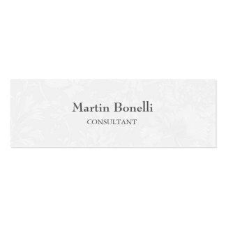 Unique Classical Floral Damask Slim Double-Sided Mini Business Cards (Pack Of 20)