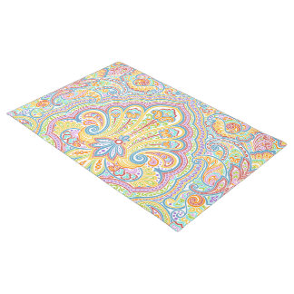 Unique Colorful Bright Paisley Floral Motif Doormat