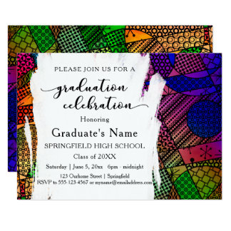 Unique Colorful Geometric Pattern Graduation Party Card