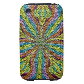 Unique colorful mosaic pattern tough iPhone 3 cases