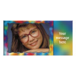Unique colourful photo frame with your message custom photo card