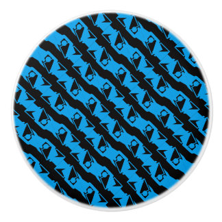 Unique & Cool Black & Azure Blue Stylish Pattern Ceramic Knob