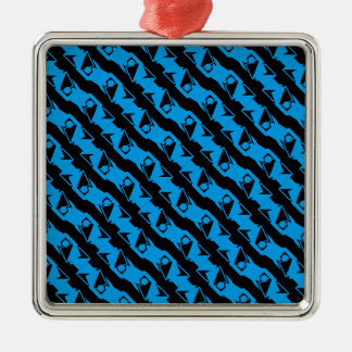 Unique & Cool Black & Azure Blue Stylish Pattern Metal Ornament