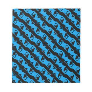 Unique & Cool Black & Azure Blue Stylish Pattern Notepad