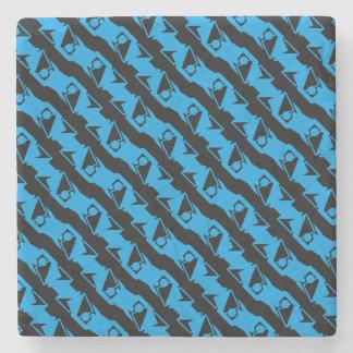 Unique & Cool Black & Azure Blue Stylish Pattern Stone Coaster