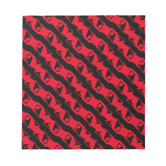 Unique & Cool Black & Bright Red Modern Pattern Notepad