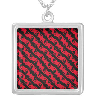 Unique & Cool Black & Bright Red Modern Pattern Silver Plated Necklace