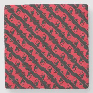 Unique & Cool Black & Bright Red Modern Pattern Stone Coaster