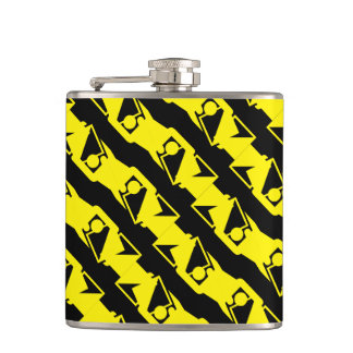 Unique & Cool Black & Bright Yellow Modern Pattern Hip Flask