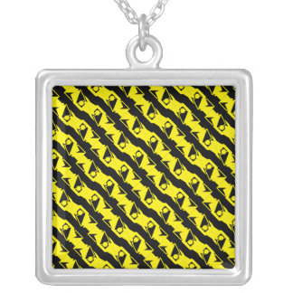 Unique & Cool Black & Bright Yellow Modern Pattern Silver Plated Necklace