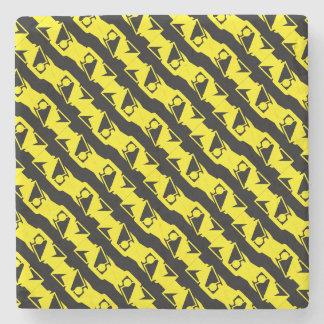 Unique & Cool Black & Bright Yellow Modern Pattern Stone Coaster