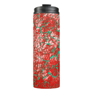 Unique Cool Pink Red Green Abstract Pattern Thermal Tumbler