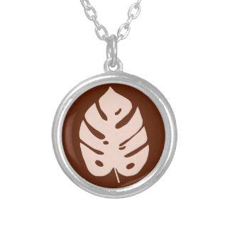 Unique Copper Monstera Tropical Plant Design Silver Plated Necklace