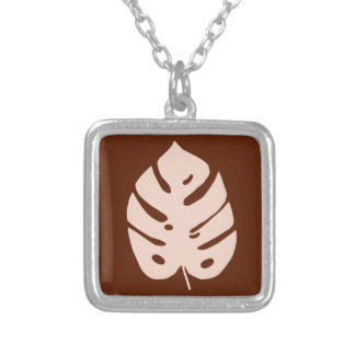 Unique Copper Monstera Tropical Plant Design Silver Plated Necklace