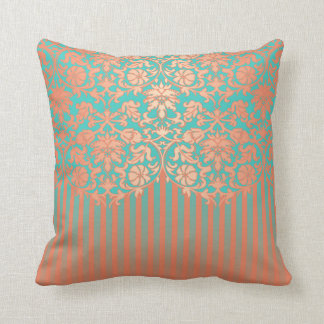Unique Coral and Teal Damask Throw Pillow