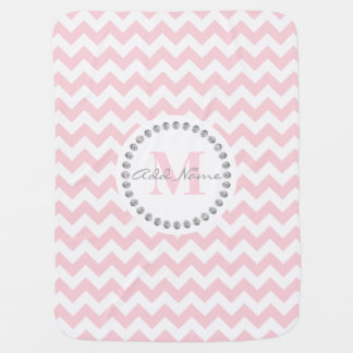 Unique Custom Monogram Name Baby Girl Chevron Pink Baby Blanket
