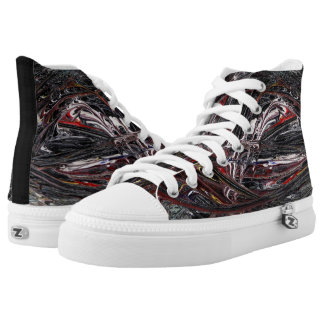 Unique Dark Abstract Painted Design High Tops