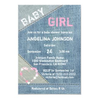 UNIQUE Denim Girls Baby Shower Invitations