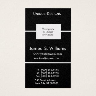Unique DESIGNS Formal Black White Custom Box Logo Business Card