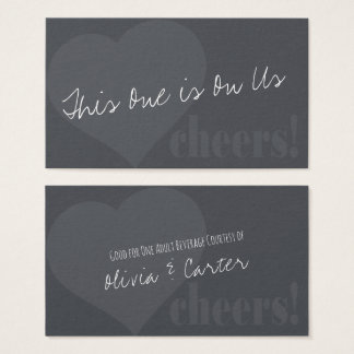 Unique Drink Tickets w/ Heart & Cheers on Gray