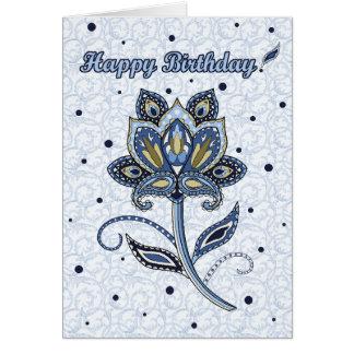 Unique Elegant Custom Floral Paisley Blue Birthday Card