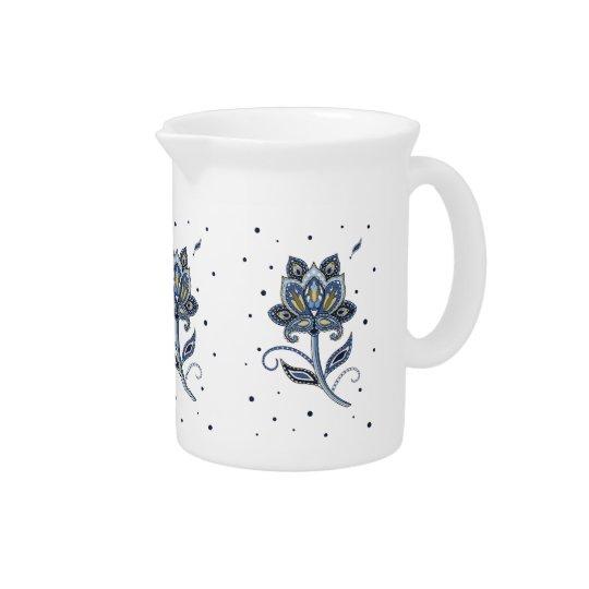Unique Elegant Custom Floral Paisley Blue Pitchers