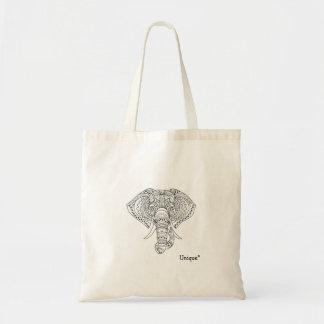 Unique elephant tribal ethnic design tote bag