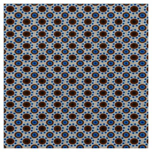 Unique fabric  Aqua brown retro dots  linen