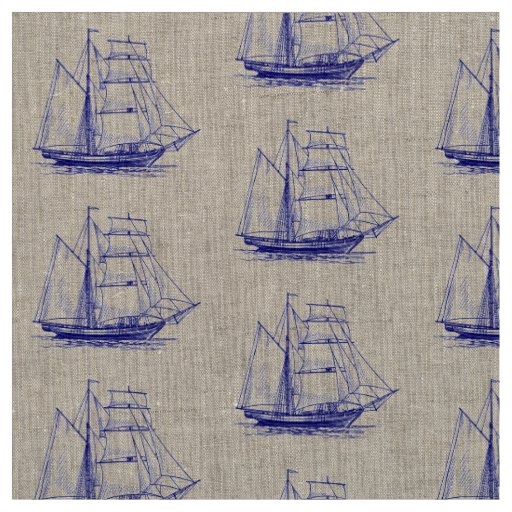 Unique fabric  Blue sail boat ship nautical