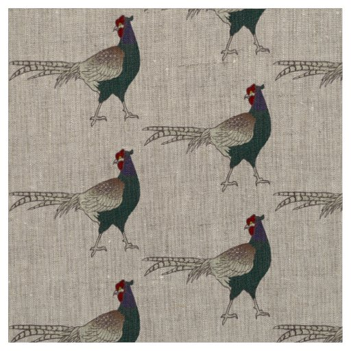 Unique fabric Retro chic pheasant bird  linen