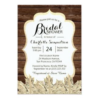UNIQUE Fall Autumn Rustic Wood Gold Bridal Shower Card