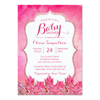 Unique Fall Pink Watercolor Maple Leaf Baby Shower Card