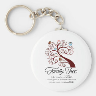 Unique Family Tree Design Basic Round Button Key Ring
