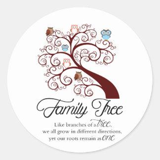 Unique Family Tree Design Round Sticker