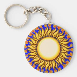 Unique Flaming Tribal Sun Design Basic Round Button Key Ring