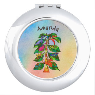 Unique Frog Tree of Life Watercolor Personalized Makeup Mirrors