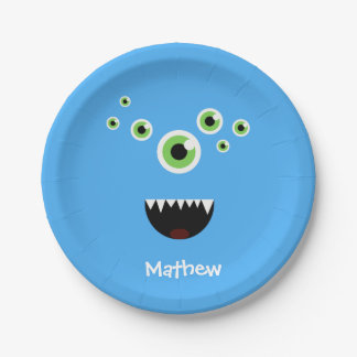 Unique Funny Crazy Cute Blue Monster 7 Inch Paper Plate