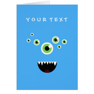Unique Funny Crazy Cute Blue Monster Card