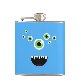 Unique Funny Crazy Cute Blue Monster Hip Flask