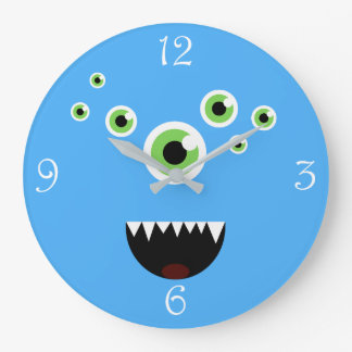 Unique Funny Crazy Cute Blue Monster Large Clock