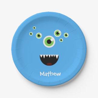 Unique Funny Crazy Cute Blue Monster Paper Plate