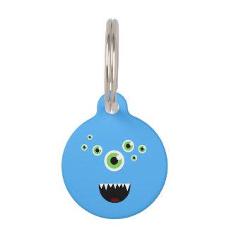 Unique Funny Crazy Cute Blue Monster Pet Tag