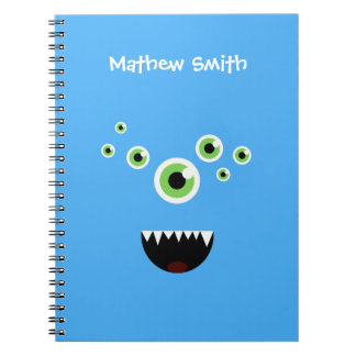 Unique Funny Crazy Cute Blue Monster Spiral Notebook