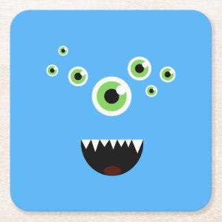 Unique Funny Crazy Cute Blue Monster Square Paper Coaster