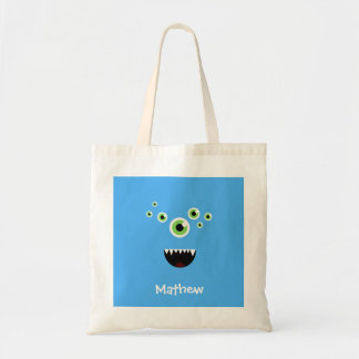 Unique Funny Crazy Cute Blue Monster Tote Bag