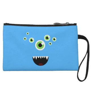 Unique Funny Crazy Cute Blue Monster Wristlet