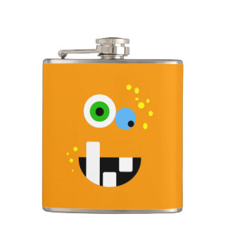 Unique Funny Crazy Oragne Monster Hip Flask