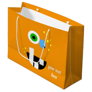 Unique Funny Crazy Oragne Monster Large Gift Bag