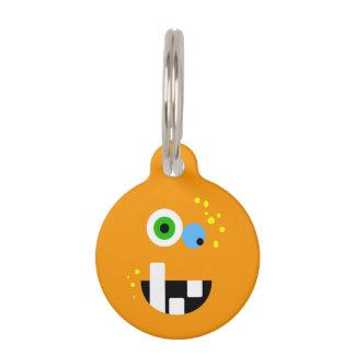 Unique Funny Crazy Oragne Monster Pet Tag