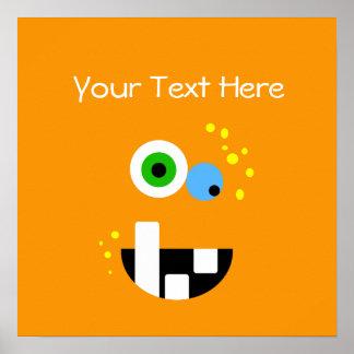 Unique Funny Crazy Oragne Monster Poster